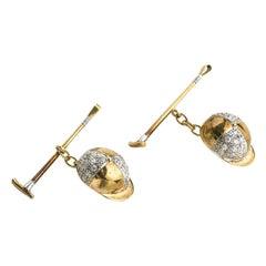 Diamond Gold Jockey Cufflinks