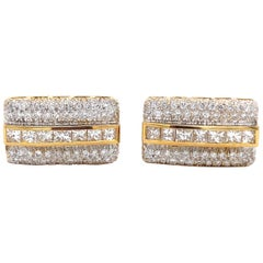 Diamond Gold Men's Cufflinks Estate Fine Jewelry