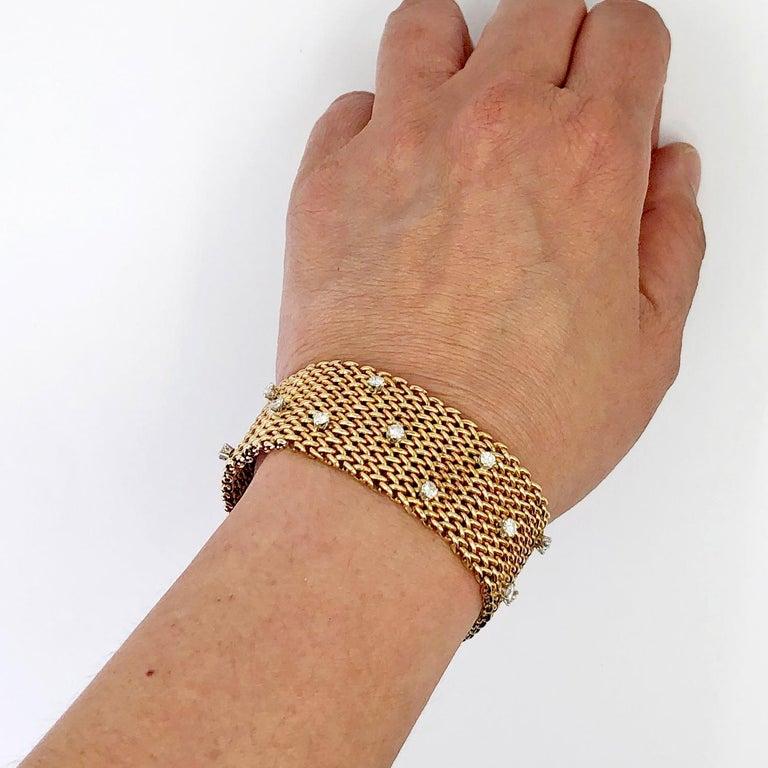 Round Cut Diamond Gold Mesh Bracelet