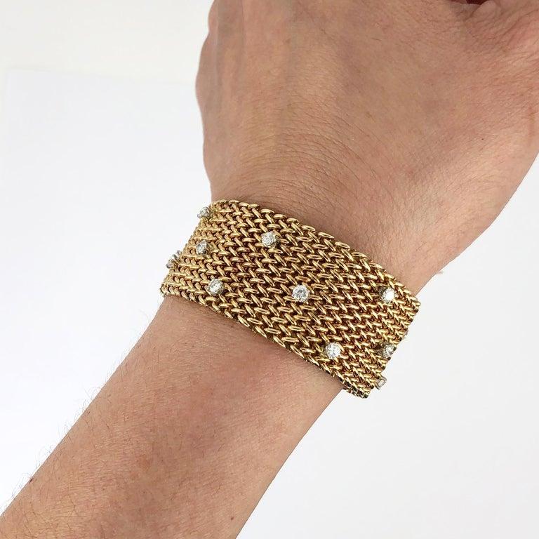 Diamond Gold Mesh Bracelet In Good Condition In New York, NY