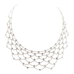Diamond Gold Modern Web Necklace