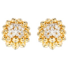 Diamond Gold Ornament Cluster Earclips