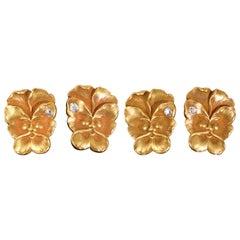Art Nouveau Cufflinks in 14 Karat Gold with a Single Diamond, USA circa 1890