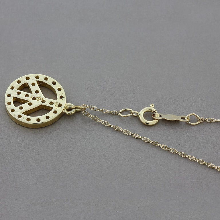 Diamond Gold Peace Pendant In New Condition For Sale In Beverly Hills, CA
