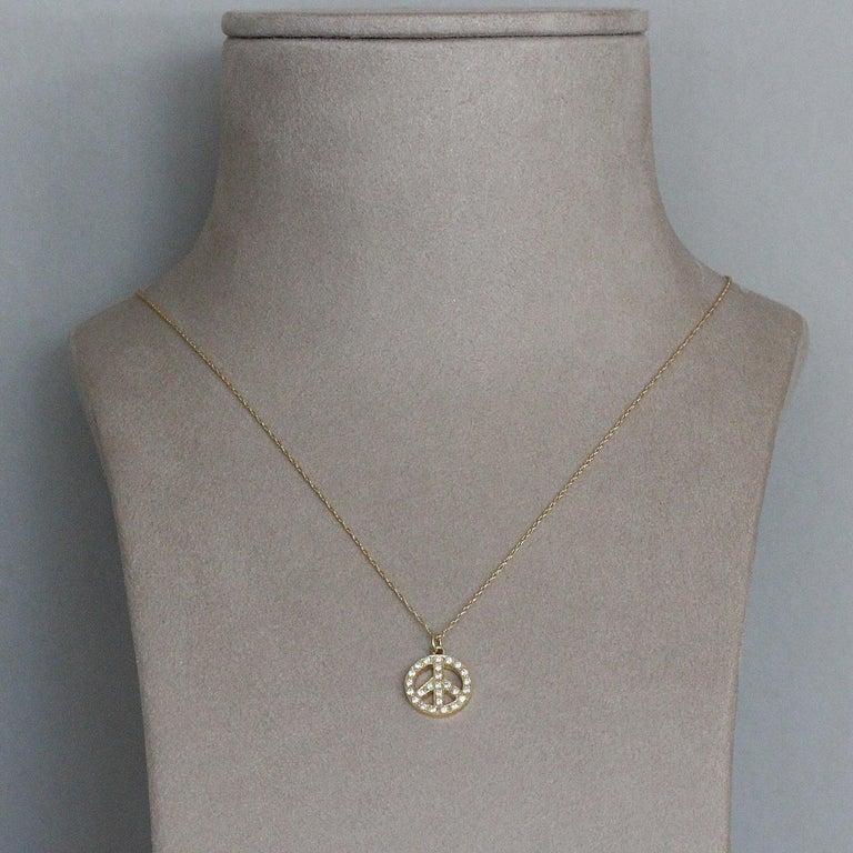 Women's or Men's Diamond Gold Peace Pendant For Sale