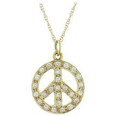 Diamond Gold Peace Pendant