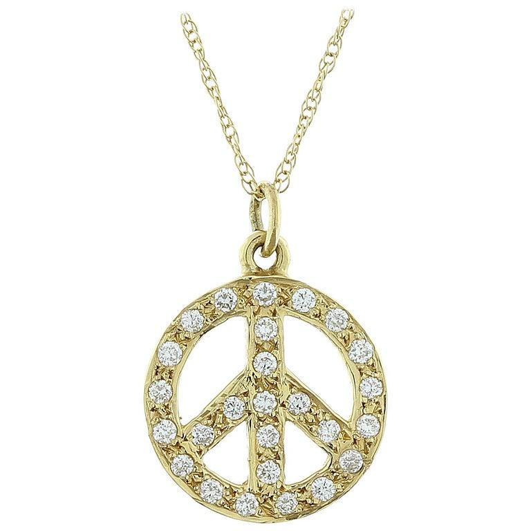 Diamond Gold Peace Pendant For Sale