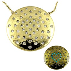 DIAMOND LOVE on Planet 48  Natural Diamond Yellow Gold Pendant Necklace