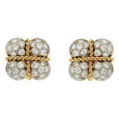 Diamond Gold Platinum Gift Box Earrings