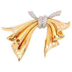 Diamond Gold Retro Bow Brooch, 1960s