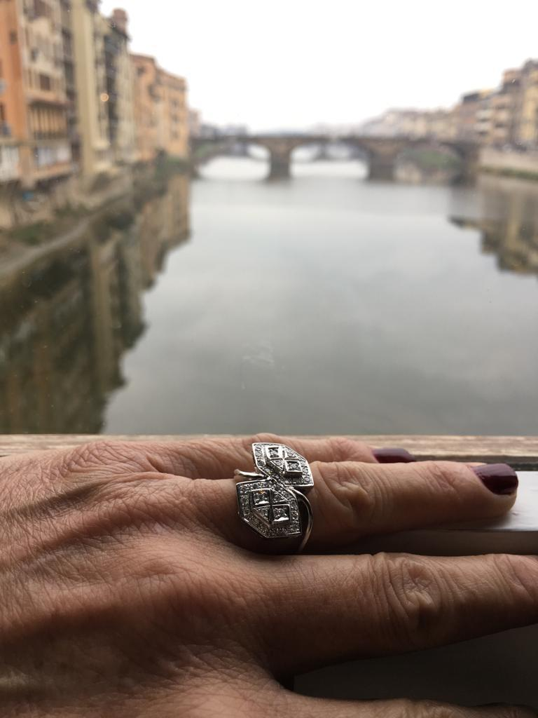 Diamond Gold Ring In Excellent Condition For Sale In Firenze, IT