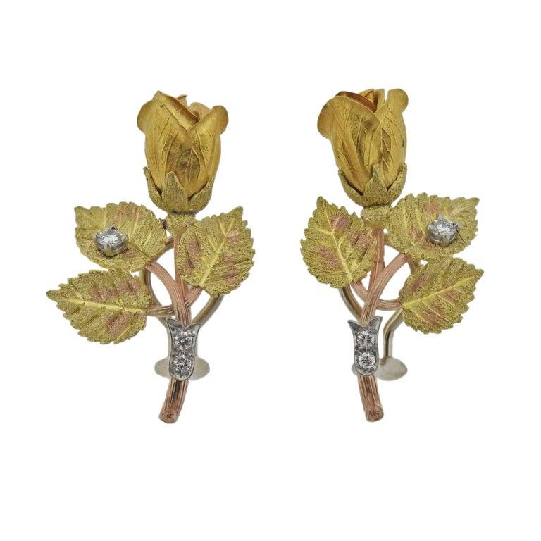 Diamond Gold Rose Flower Earrings