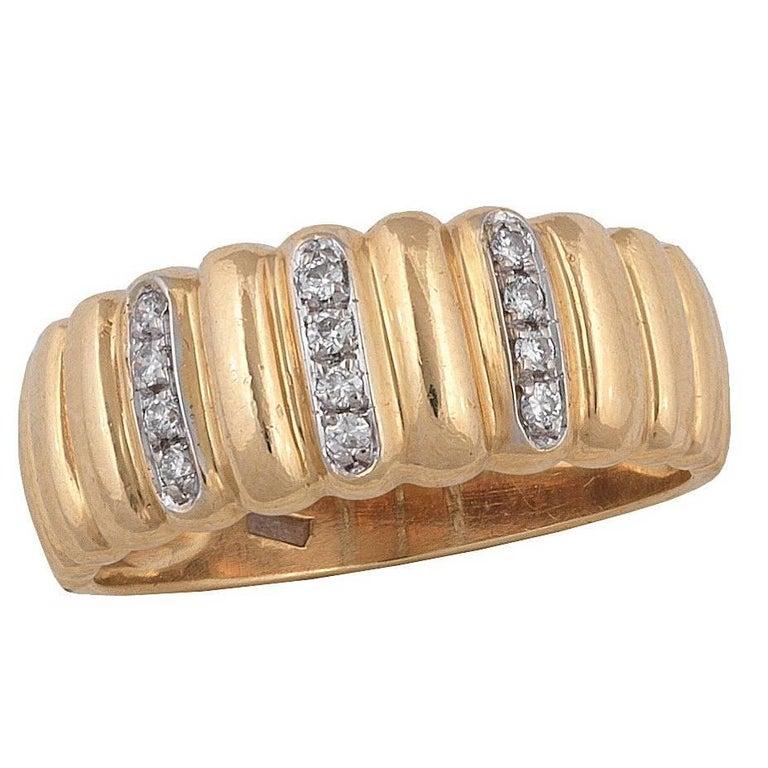 Diamond Gold Rows Ring