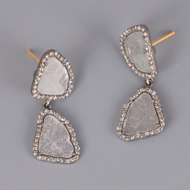 Women's Diamond Gold Silver Earring For Sale