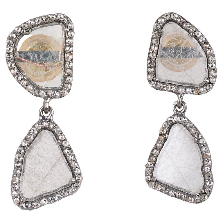 Diamond Gold Silver Earring For Sale
