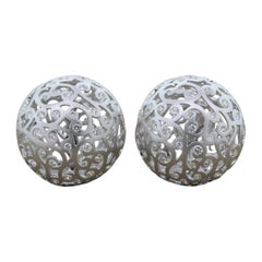 Diamond Gold Sphere Filigree Earrings
