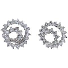 Diamond Gold Swirl Stud Earrings