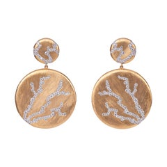 Diamond Gold Three of Life Round Earring