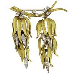 "Diamond Gold ""Tree Branch"" Brooch"