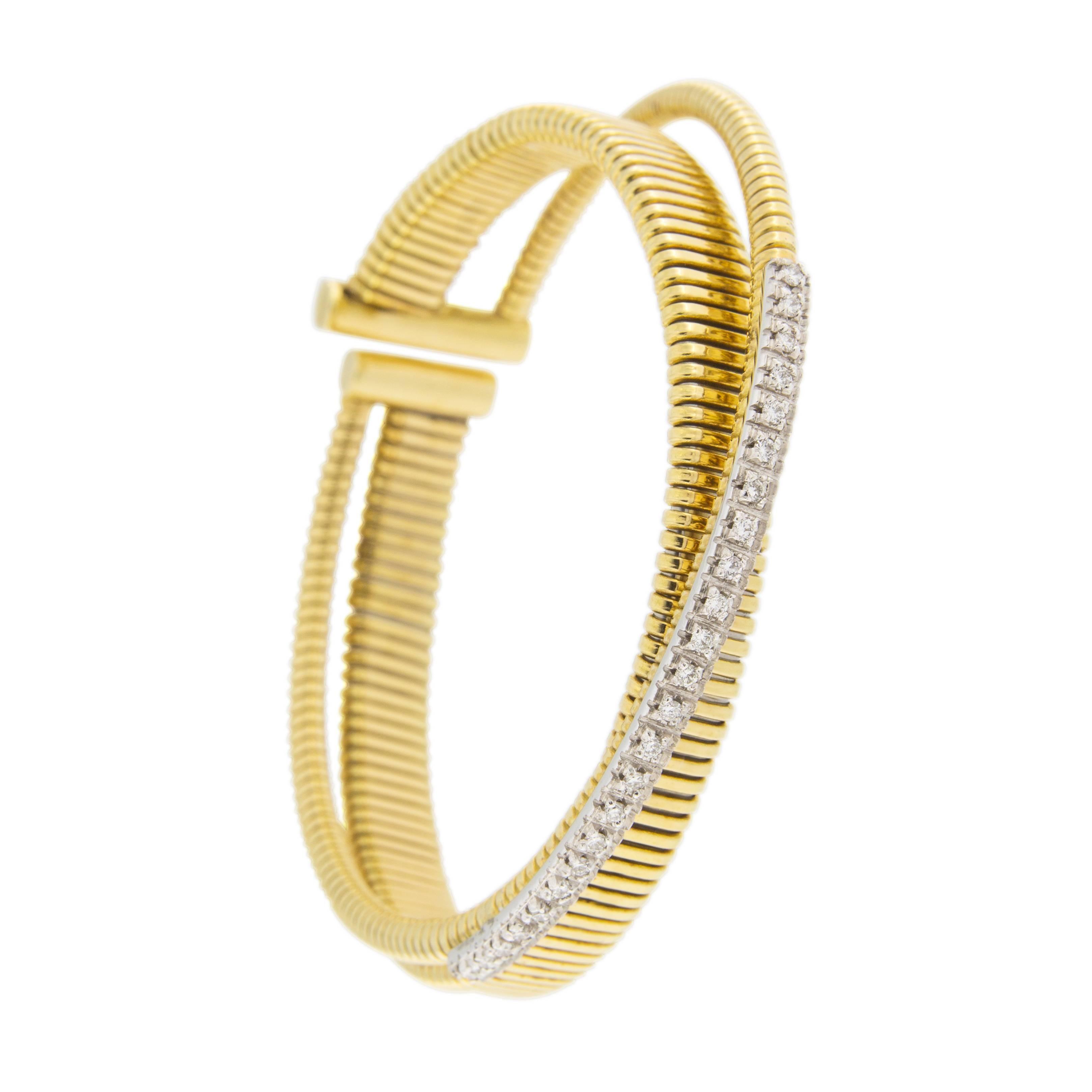 Alex Jona White Diamond 18 Karat Yellow Gold Tubogas Bangle Bracelet