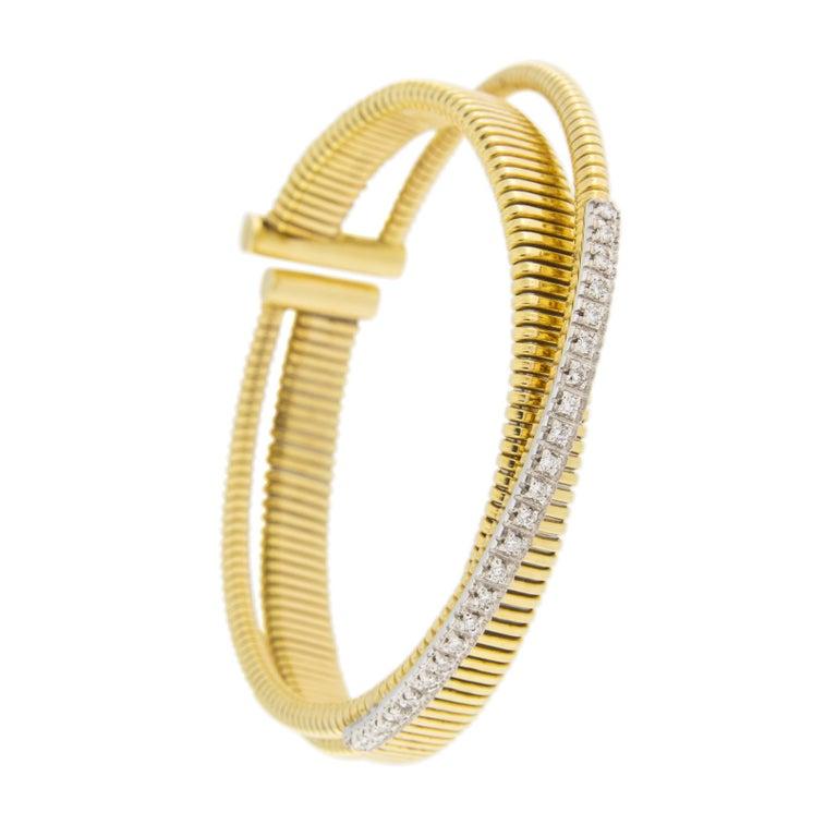 Jona White Diamond 18 Karat Yellow Gold Tubogas Bangle Bracelet For Sale