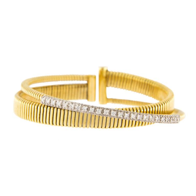 Jona White Diamond 18 Karat Yellow Gold Tubogas Bangle Bracelet In New Condition For Sale In Torino, IT