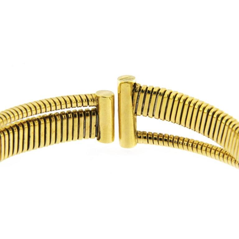 Jona White Diamond 18 Karat Yellow Gold Tubogas Bangle Bracelet For Sale 1