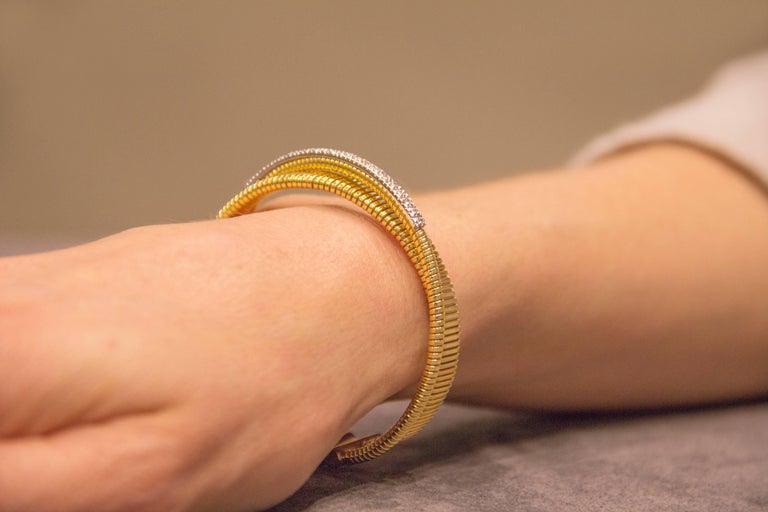 Women's Jona White Diamond 18 Karat Yellow Gold Tubogas Bangle Bracelet For Sale