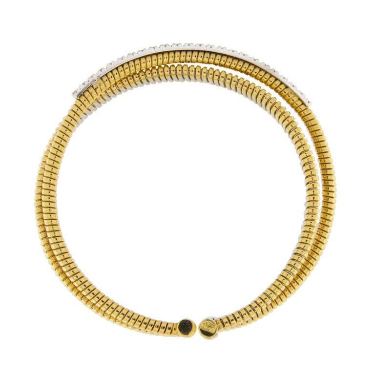 Jona White Diamond 18 Karat Yellow Gold Tubogas Bangle Bracelet For Sale 3