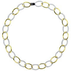 Diamond Gold Two-Tone Link Necklace
