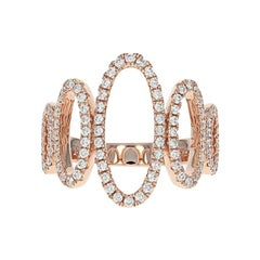Diamond Graduated Ovals Ring, 14 Karat Rose Gold Round Cut .58 Carat
