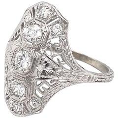 Diamond Greek Key Filigree Dinner Ring