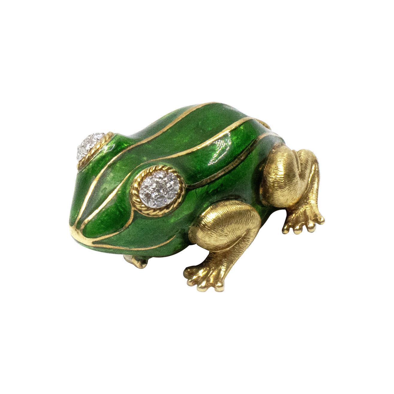 Diamond Green Enamel Frog 18 Karat Gold Brooch