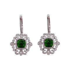 Diamond Green Russalite Drop Earrings, Victorian Inspired Pave Diamond Halo