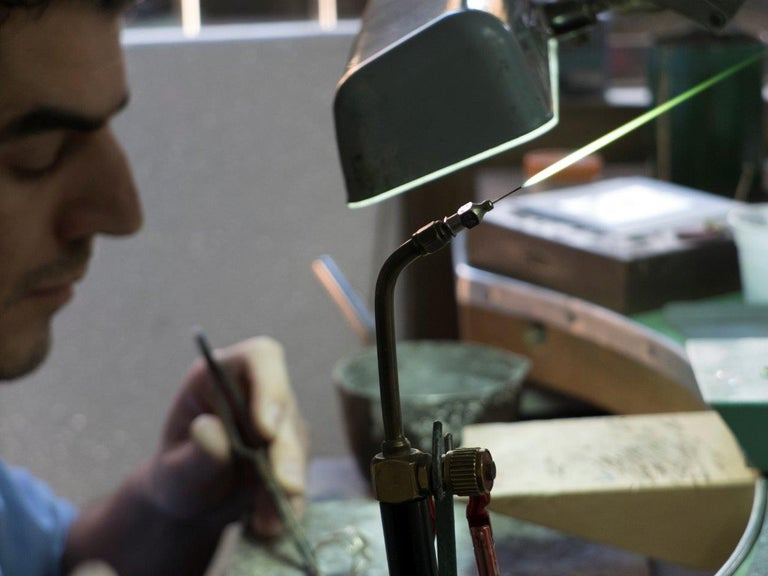 Diamond Green Titanium Gold Cufflinks Handcrafted by Margherita Burgener  For Sale 2