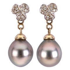 Diamond Grey Natural Pearl Earring 18 Karat Gold