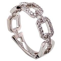 Diamond Link 18 Karat Gold Band Ring Estate Fine Jewelry