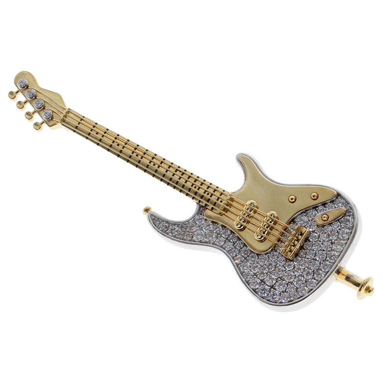 Diamond Guitar 18 Karat Yellow and White Gold Brooch For Sale