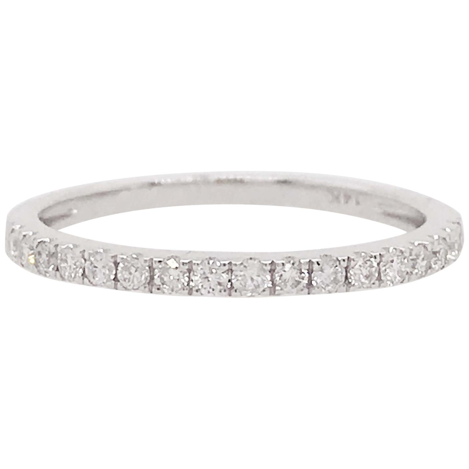 Diamond Half Band 0.25 Carat, 1/4 ct, Diamond Wedding Band 14K White Gold Any SZ