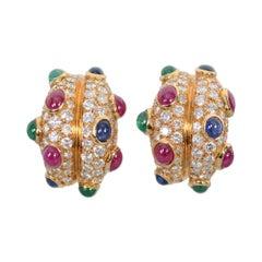 Diamond Half Hoop Earrings with Rubies, Sapphires and Emeralds