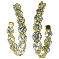 Diamond Half Hoops in 18 Karat Yellow Gold, France