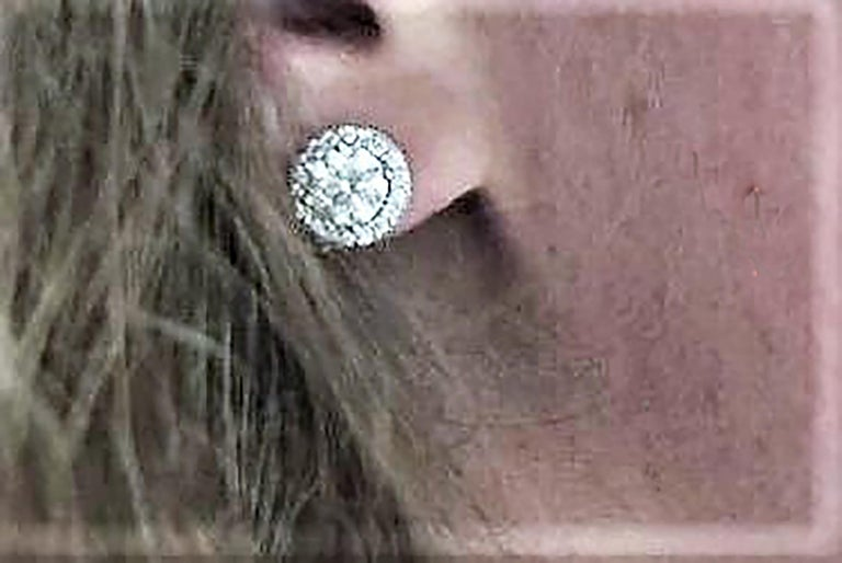 Contemporary Diamond Halo 18 Karat White Gold Earrings Custom Order Your Old Diamond Studs For Sale