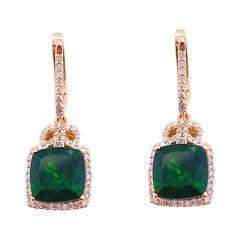 Diamond Halo Earring Studs, Green Russalite, 108 Natural Diamonds, Rose Gold