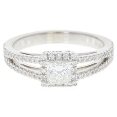 Diamond Halo Engagement Ring, 14 Karat White Gold GIA Princess Cut .70 Carat