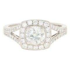 Diamond Halo Engagement Ring, 14 Karat White Gold GIA Round Brilliant .97 Carat