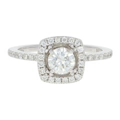 Diamond Halo Engagement Ring, 14 Karat White Gold Round Cut .85 Carat