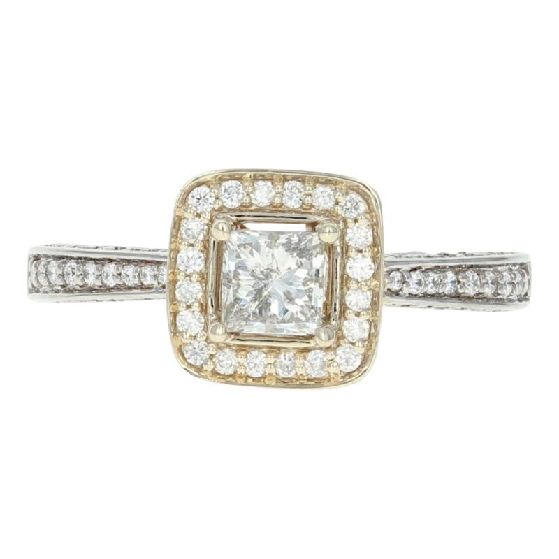 Diamond Halo Engagement Ring, 18 Karat White Gold Princess .88 Carat