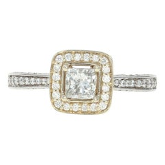 Diamond Halo Engagement Ring, 18 Karat White Gold Princess .88 Carat