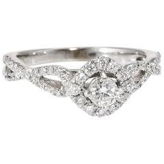 Diamond Halo Engagement Ring Estate 10 Karat White Gold Fine Bridal Jewelry