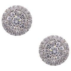 Diamond Halo Jacket Stud Earrings